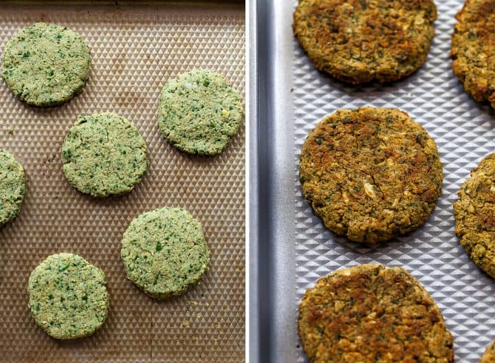 Two overhead photos showing how to bake falafel