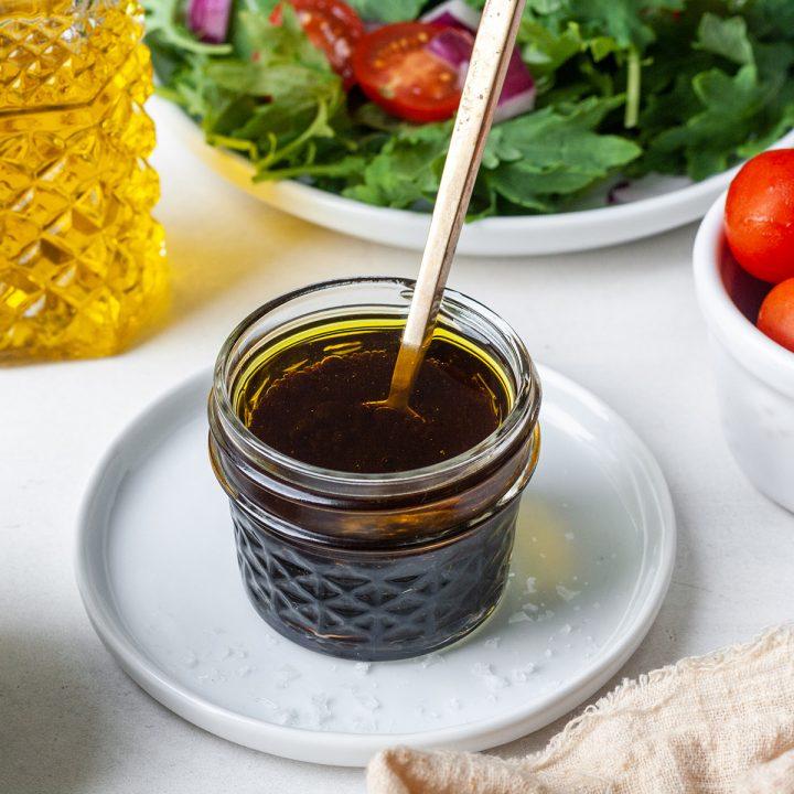 maple balsamic vinaigrette dressing in a glass jar
