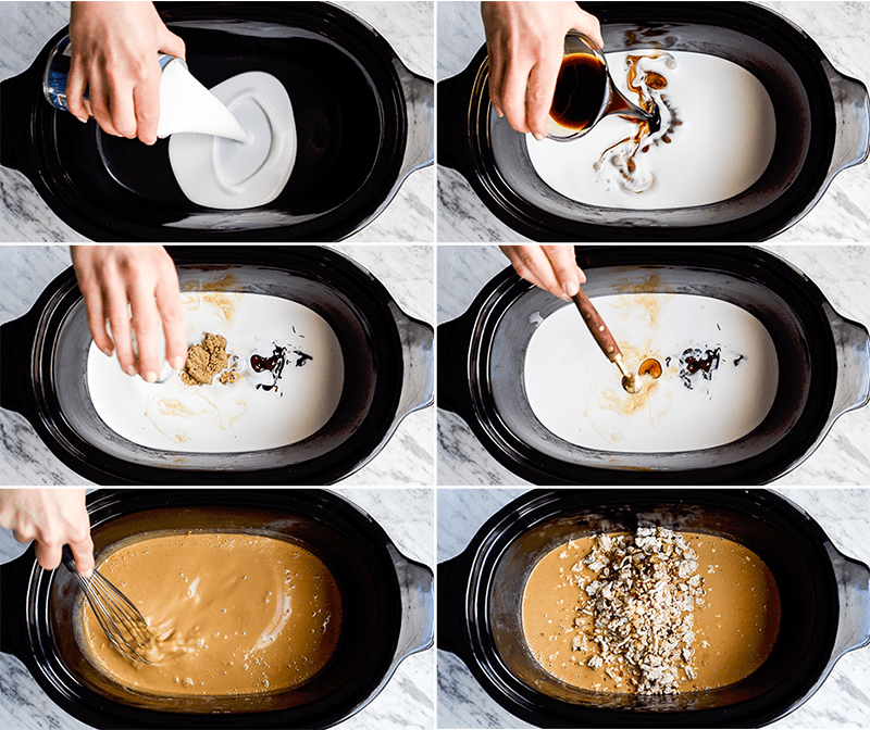 A collage of six overhead photos showing how the sauce for this Thai Slow-Cooker Ground Turkey is made inside of the slow cooker
