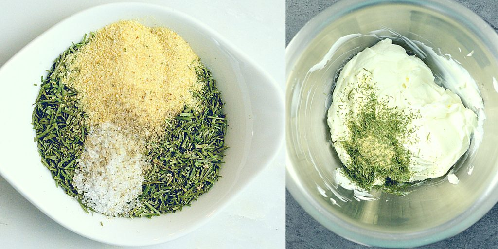 Two overhead photos, the one on the left shows the spice mixture in a small dish before mixing. The photo on the right shows the spices being mixed into the greek yogurt/sour cream.