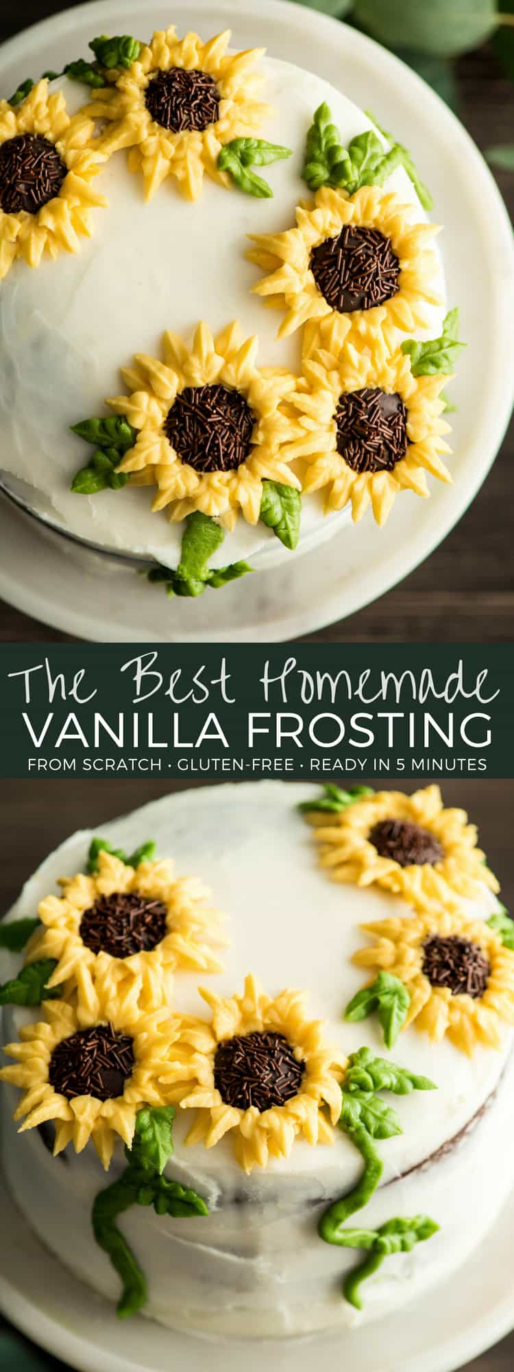 The BEST homemade vanilla frosting recipe!  5 minutes and 6 ingredients is all it takes to make the best frosting at home! Ditch the store-bought varieties! Great for decorating cakes & cookies! #homemadefrosting #buttercream #frosting #cake #birthday #cakedecorating
