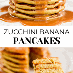 Zucchini Stacked banana pancakes with fork with a bite missing on the lower photo.