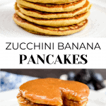 Two stacks of pancakes with syrup on the lower image.