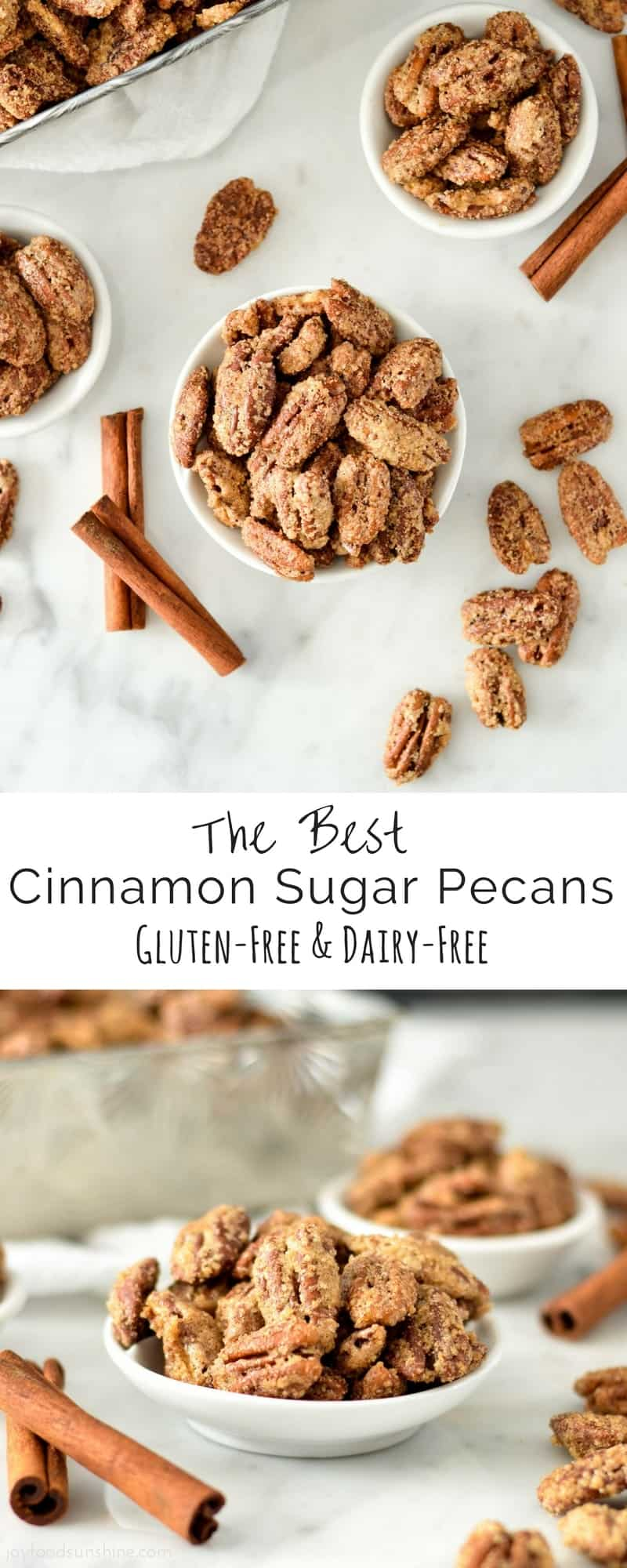 Cinnamon Sugar Pecans Recipe! Made with only 6 simple ingredients, these pecans are WAY better than mall cart nuts! Plus, they're gluten & dairy-free!