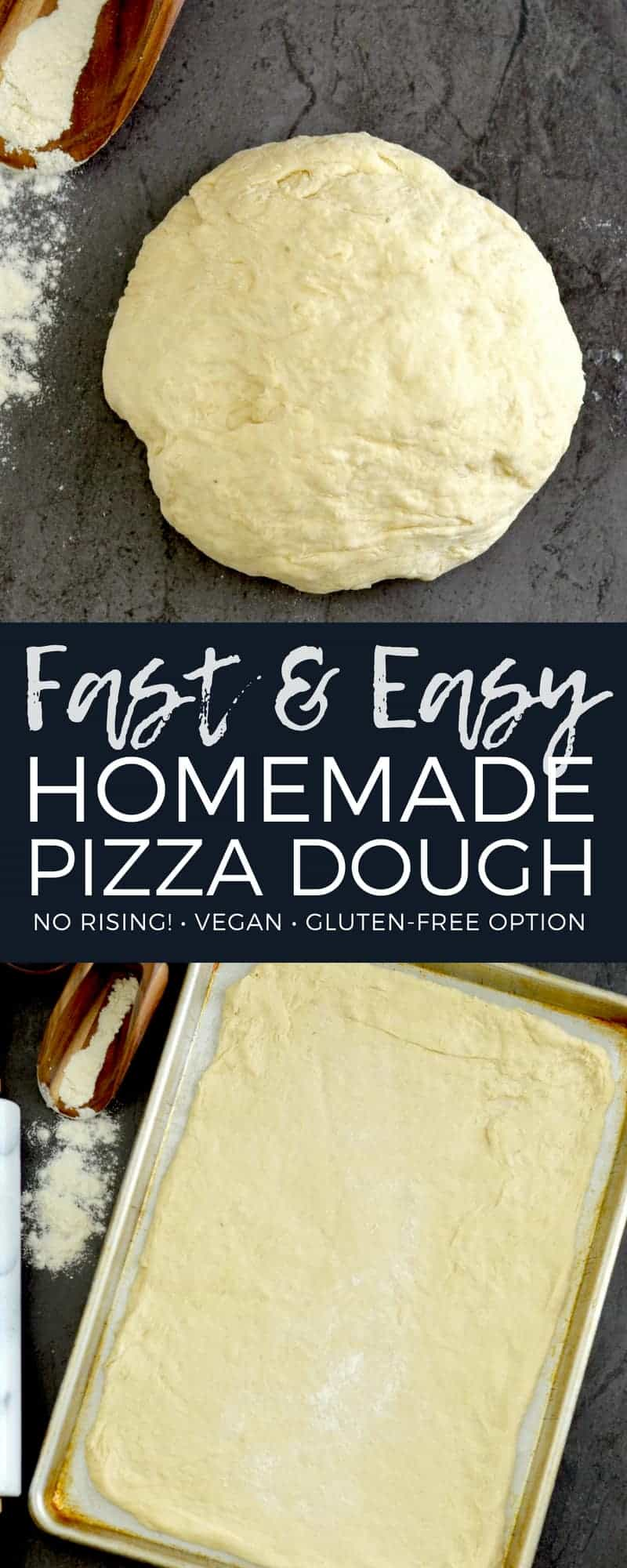 This Easy Homemade Pizza Dough recipe yields the best ever homemade pizza in 30 minutes FLAT! It's made with only 5 ingredients and does not require any rising! Plus it is vegan with a gluten-free option! #pizzadough #vegan #glutenfree #homemade #easy #norising #homeamdepizza #pizza