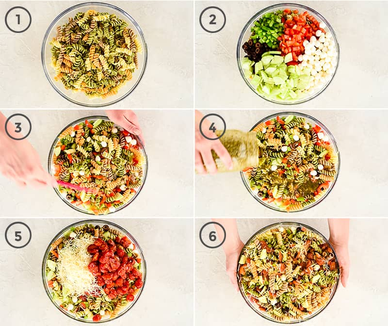 a collage of six photos showing the process of how to make Best Pasta Salad Recipe with Homemade Dressing