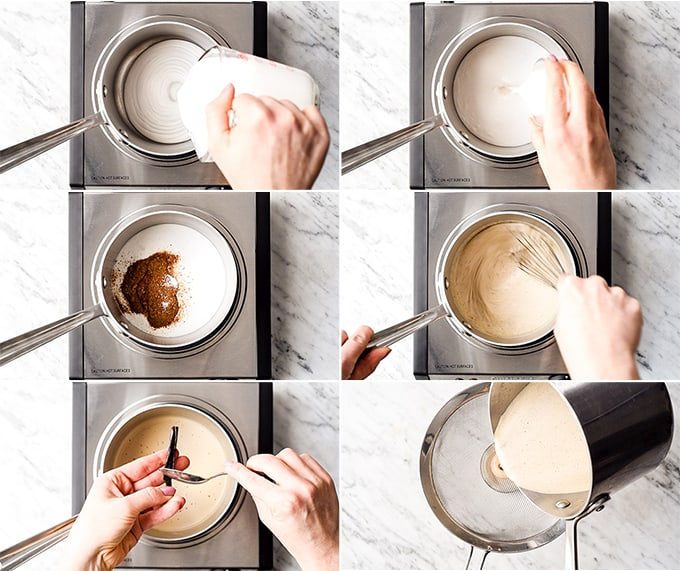 Collage of six photos showing an overhead view of the steps in making this healthy coffee creamer