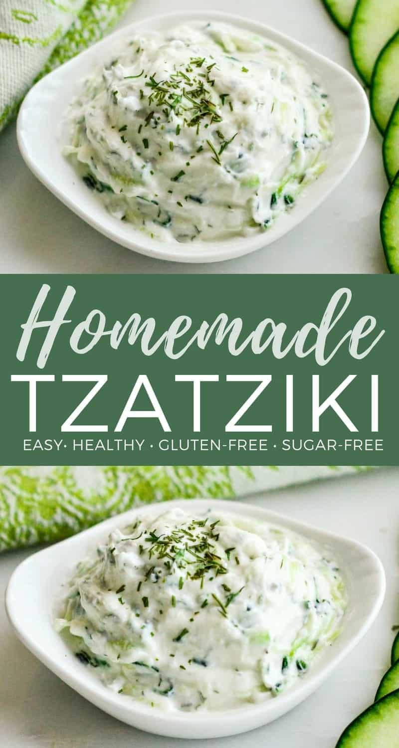 Healthy & Easy Homemade Tzatziki Sauce Recipe! Made with Greek yogurt, this tzatziki sauce perfectly compliments all your favorite Mediterranean dishes! It's gluten-free, high-protein and irresistibly delicious!  #tzatziki #homemade #sauce #healthy #easy #recipe #healthy #glutenfree