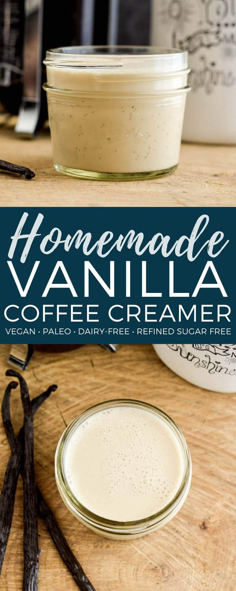 Homemade Paleo Vanilla Coffee Creamer! A 4 ingredient, easy recipe that's SO MUCh healthier than store-bought creamers! Dairy-free, refined-sugar free, paleo, and vegan! #homemade #creamer #dairyfree #vegan #paleo #vanilla #breakfast #coffee