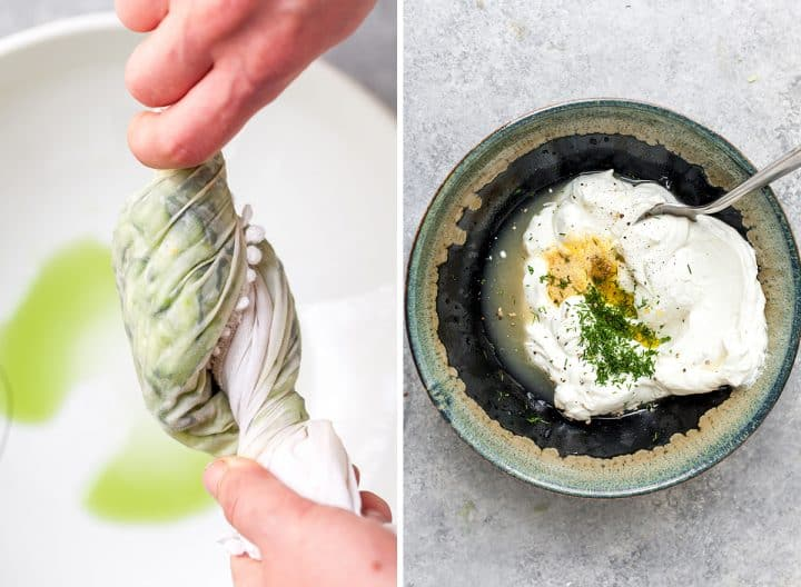two photos showing how to make tzatziki sauce