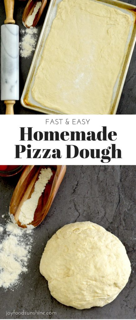 Easy Homemade Pizza Dough! This fast and healthy recipe gives you a homemade pizza in 30 minutes flat! Plus it's vegan with a gluten-free option!