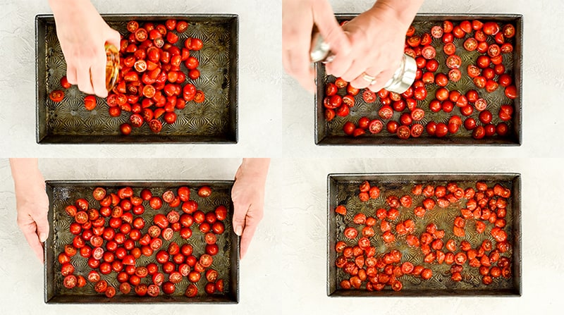 Overhead view of four step-by-step photos showing how to roast baby tomatoes to put in this Best Pasta Salad Recipe with Homemade Dressing