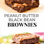 Peanut Butter Black Bean Brownies stacked in a pretty manner.
