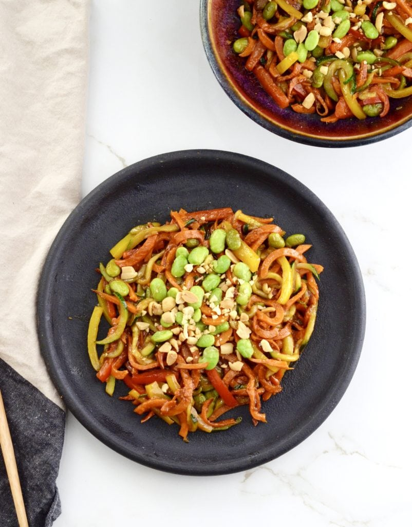 Sweet Potato Noodle Stir-Fry tossed in a slightly sweet hoisin peanut sauce! An easy vegan & gluten-free meal that is ready in under 30 minutes!