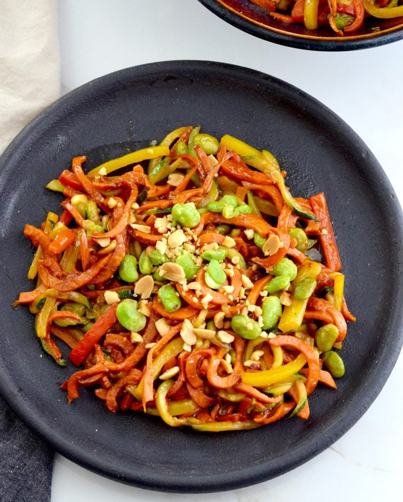 Overhead view of a plate of Spiralized Sweet Potato Stir Fry