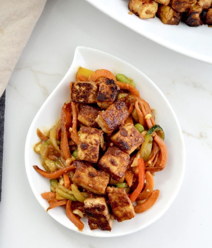 Overhead view of Spiralized Sweet Potato Stir Fry