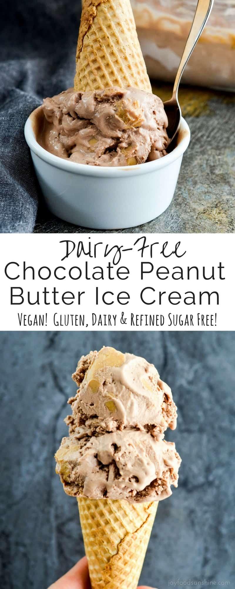 Dairy-Free Chocolate Peanut Butter Ice Cream - Joyfoodsunshine