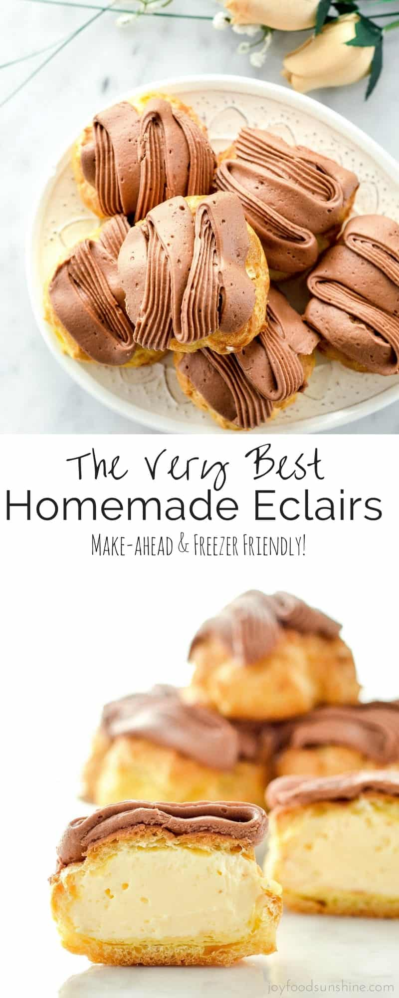 The very best Homemade Eclairs ever! A labor of love resulting in a delicious, elegant dessert that is perfect for any special occasion! Make-ahead and freezer-friendly!