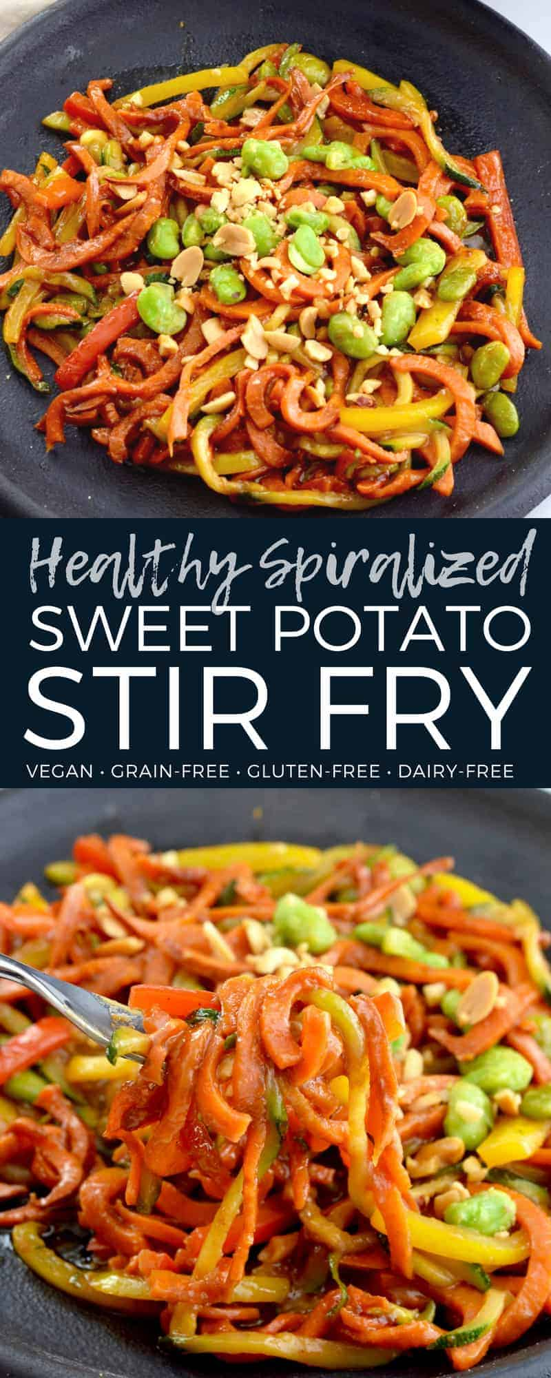 This healthy Spiralized Sweet Potato Stir Fry is a veggie-lovers dream! Spiralized vegetables are stir-fried in a sweet hoisin peanut sauce that is so delicious you will want to lick the bowl clean! This amazing dinner recipe is ready in 20 minutes and is vegan & gluten-free! A great meatless main dish recipe!  #spiralized #sweetpotato #glutenfree #vegan #dairyfree #stirfry #healthy #maindish #easy