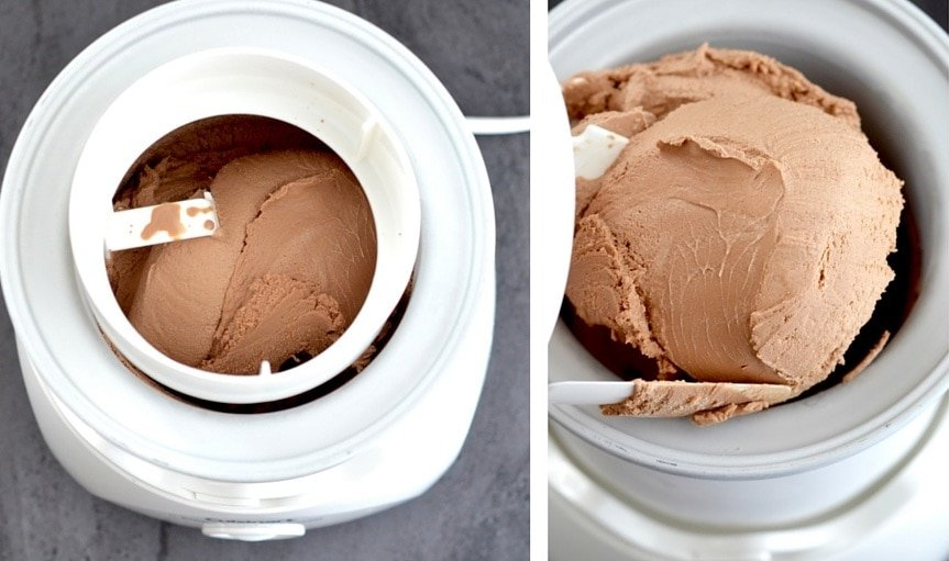 overhead collage of two photos of the dairy-free chocolate peanut butter ice cream in the ice cream maker. One with it in the maker, one with the paddle lifted out showing the consistency of the ice cream