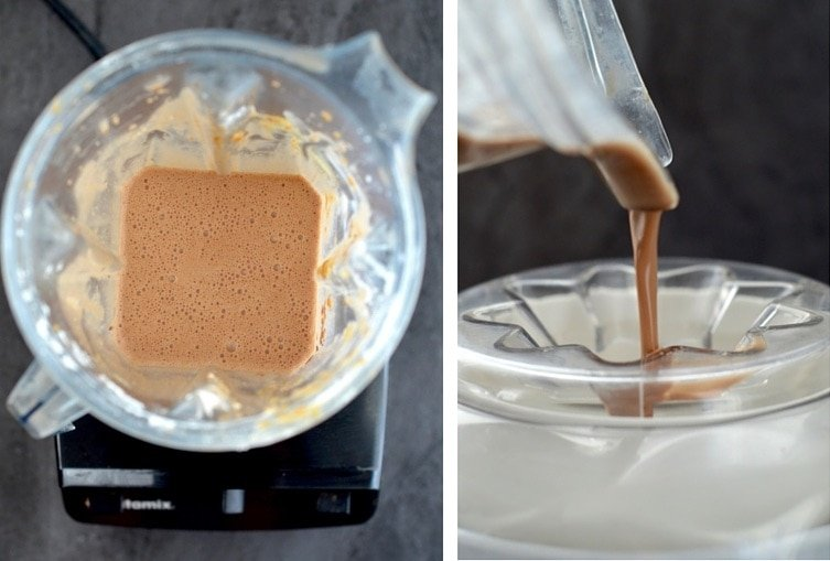 Collage of two pictures, one is an overhead view of the ice cream mixture blended in the vitamix, the second is a side view of the dairy-free chocolate peanut butter ice cream base being poured into the ice cream maker