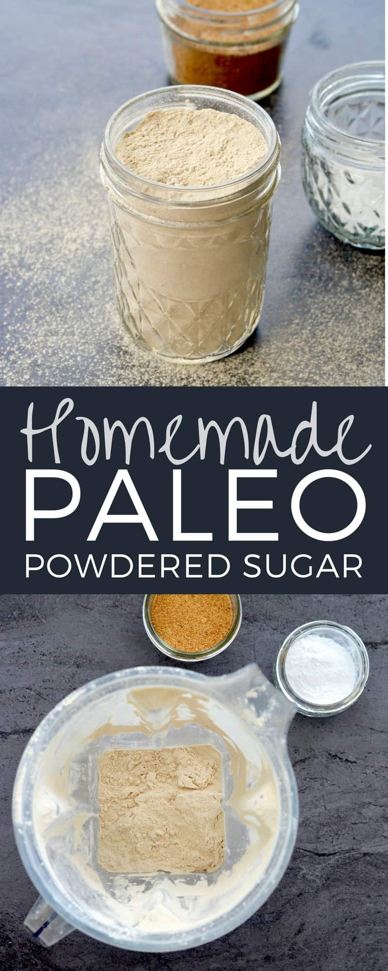 Homemade Paleo Powdered Sugar Recipe! Make your own healthy powdered sugar in 5 minutes with 2 ingredients! Gluten-free, dairy-free, refined sugar free, paleo & vegan! #homemade #powderedsugar #paleo #vitamix #easy #5minutes #2ingredients