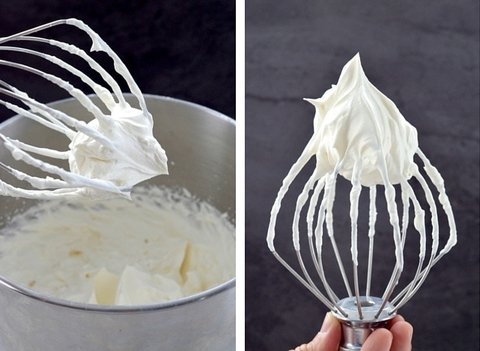 two photos showing whipped whipping cream in the making of the best eclairs recipe