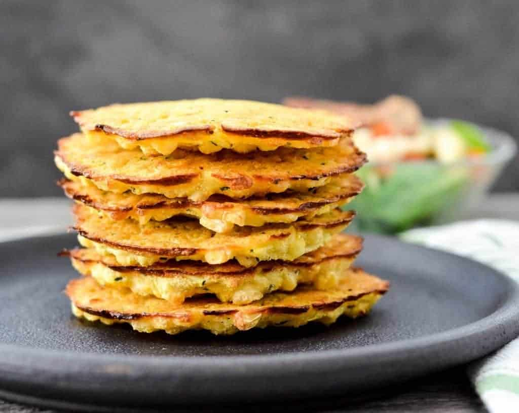 front view of a stack of six healthy Baked Zucchini Corn Fritters