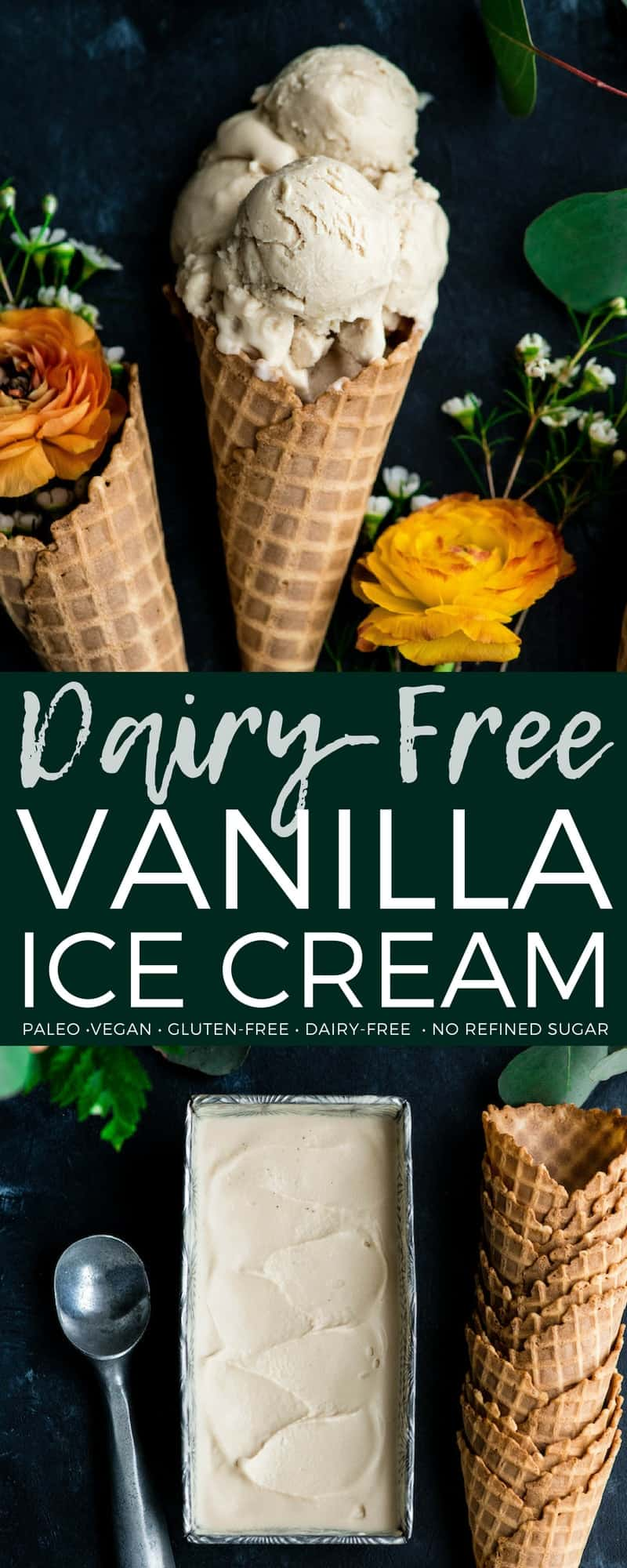 The creamiest homemade dairy-free vanilla ice cream ever! Made with only 5 ingredients and is vegan, paleo, gluten-free & refined sugar free! #paleo #glutenfree #dairyfree #icecream #vegan #vanillaicecream #homemade #recipe #healthydessert #healthy