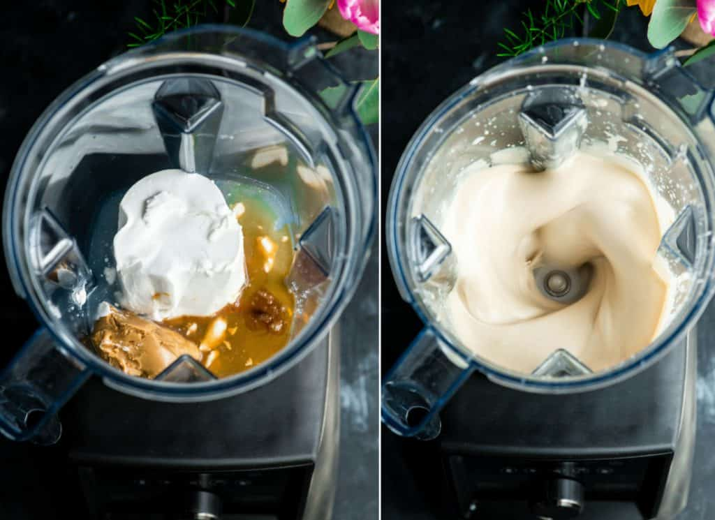 Overhead view of two photos, both overhead views of Paleo Vanilla Ice Cream being made in a vitamix blender. The left is before blending, the right is during blending.