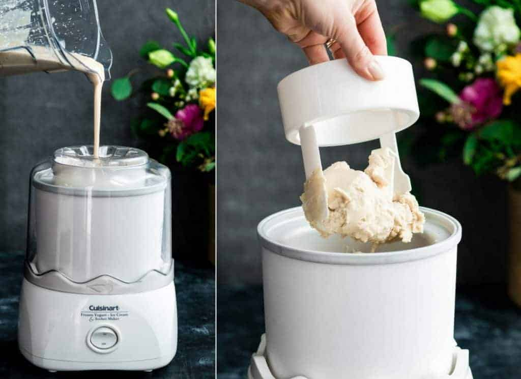 Front view of two photos. The left photo is the Paleo Vanilla Ice Cream mixture being poured from the Vitamix container into a moving ice cream maker. The right photo is of a hand holding the ice cream maker paddle with the frozen Paleo Vanilla Ice Cream on it.