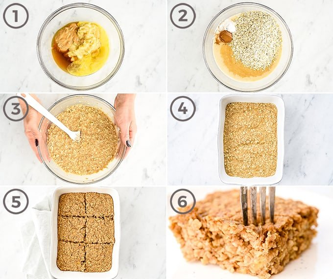 overhead view of six step-by-step photos showing how to make peanut butter banana baked oatmeal