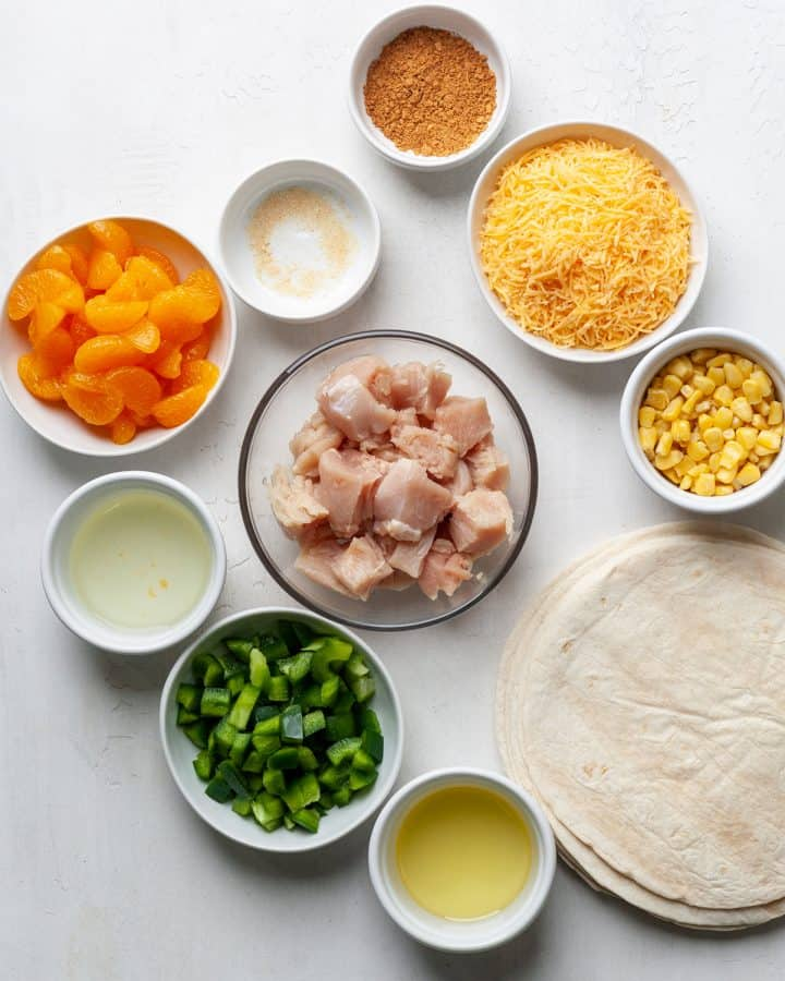 overhead view of the ingredients in this chicken quesadilla recipe
