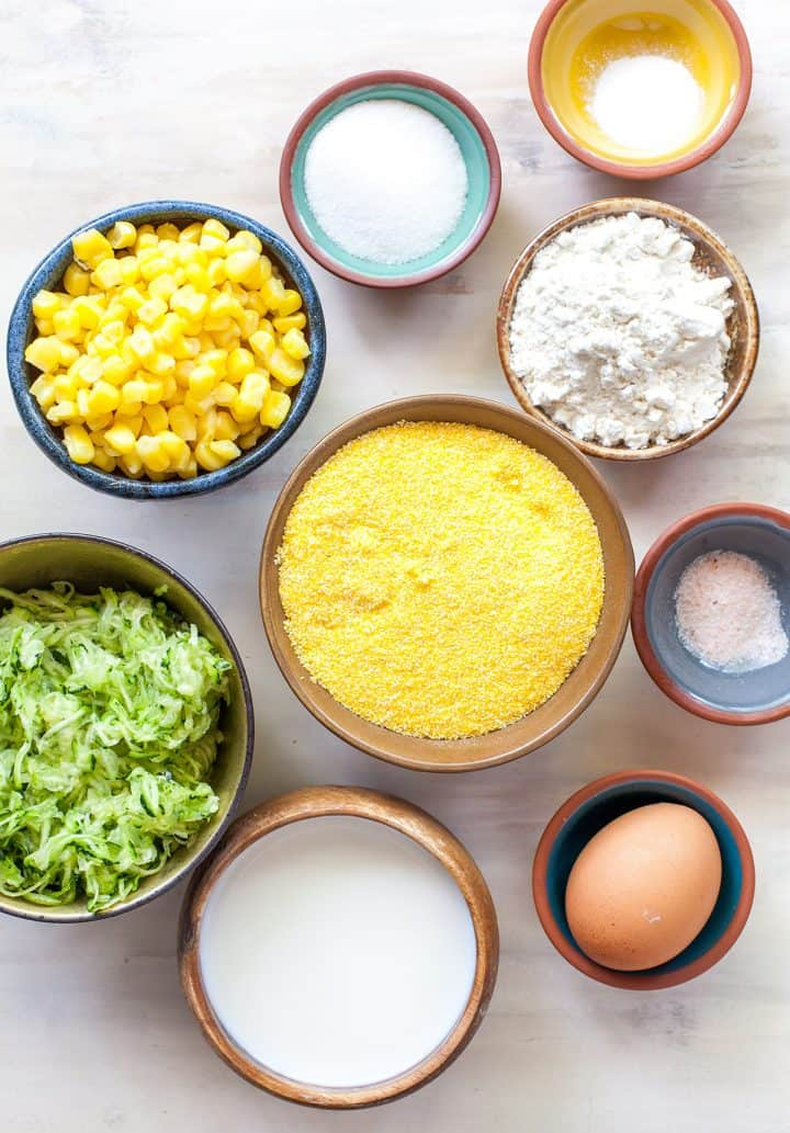 overhead view of the ingredients in this baked zucchini fritters recipe