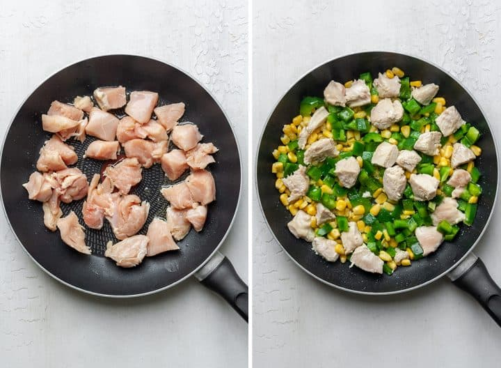 two overhead photos showing How to Make Chicken Quesadillas - making the filling