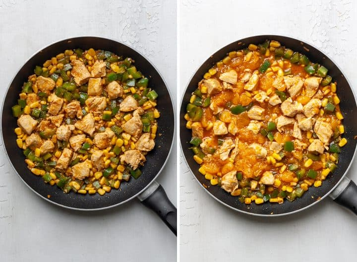 two overhead photos showing How to Make Chicken Quesadilla filling