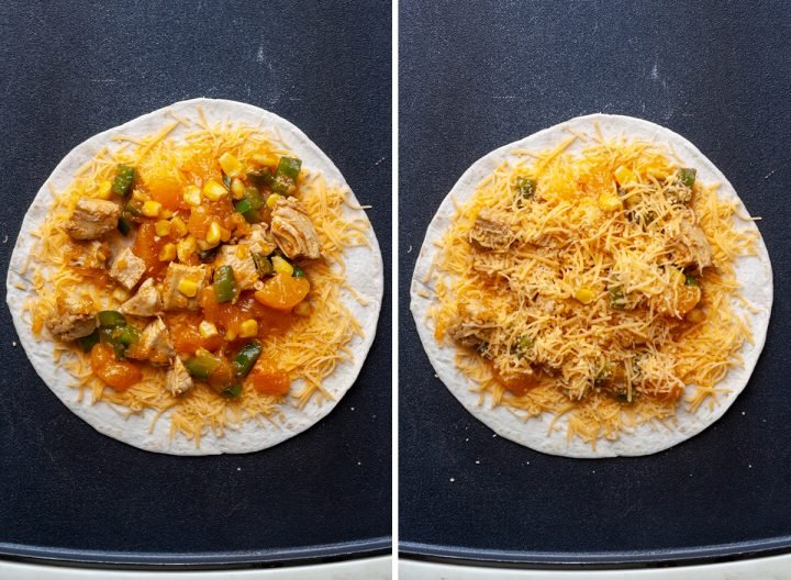 two photos showing How to Make Chicken Quesadillas - adding two layers of cheese & filling