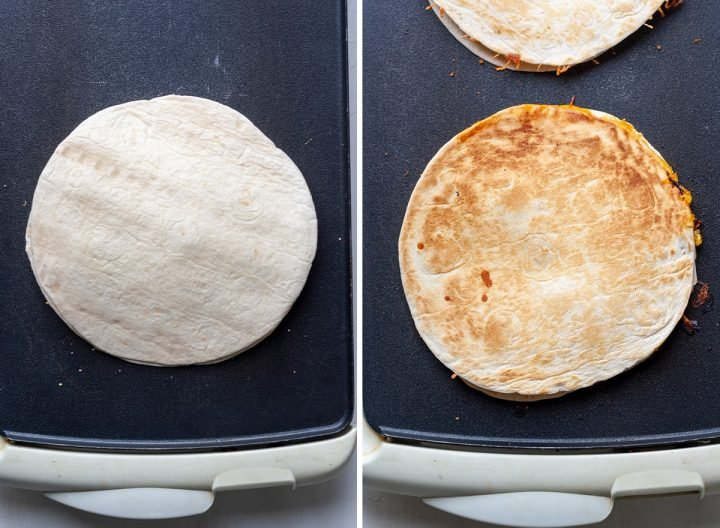 two photos showing How to Make Chicken Quesadillas - cooking the quesadillas on a griddle.