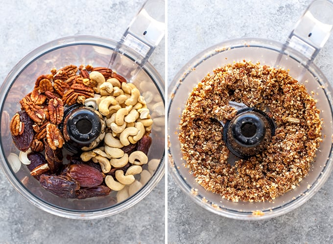 two overhead photos showing how to make energy balls