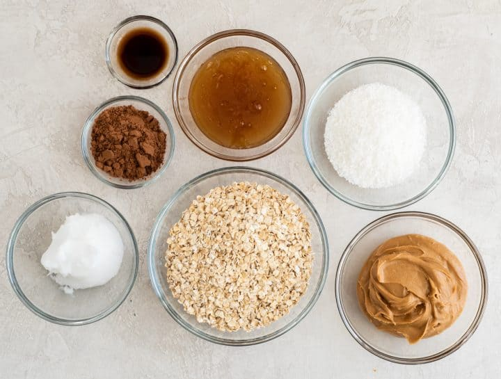 overhead photo of the ingredients in this healthy no bake cookies recipe