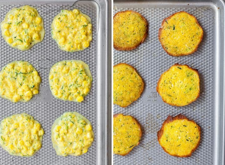 two photos showing how to make zucchini fritters