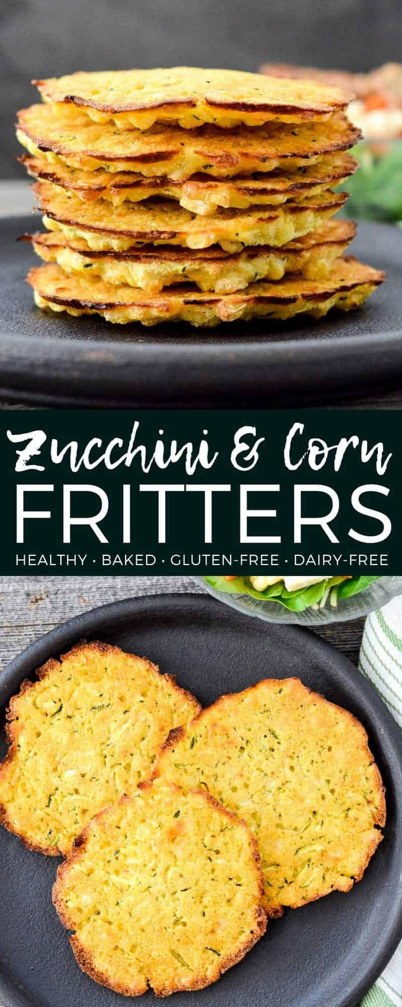 Easy, healthy Baked Zucchini Corn Fritters! Loaded with vegetables these delicious fritters are gluten-free, dairy-free & vegan! They are baked & not fried but still taste amazing!  #zucchini #corn #fritters #healthy #glutenfree #dairyfree #baked #recipe #vegan