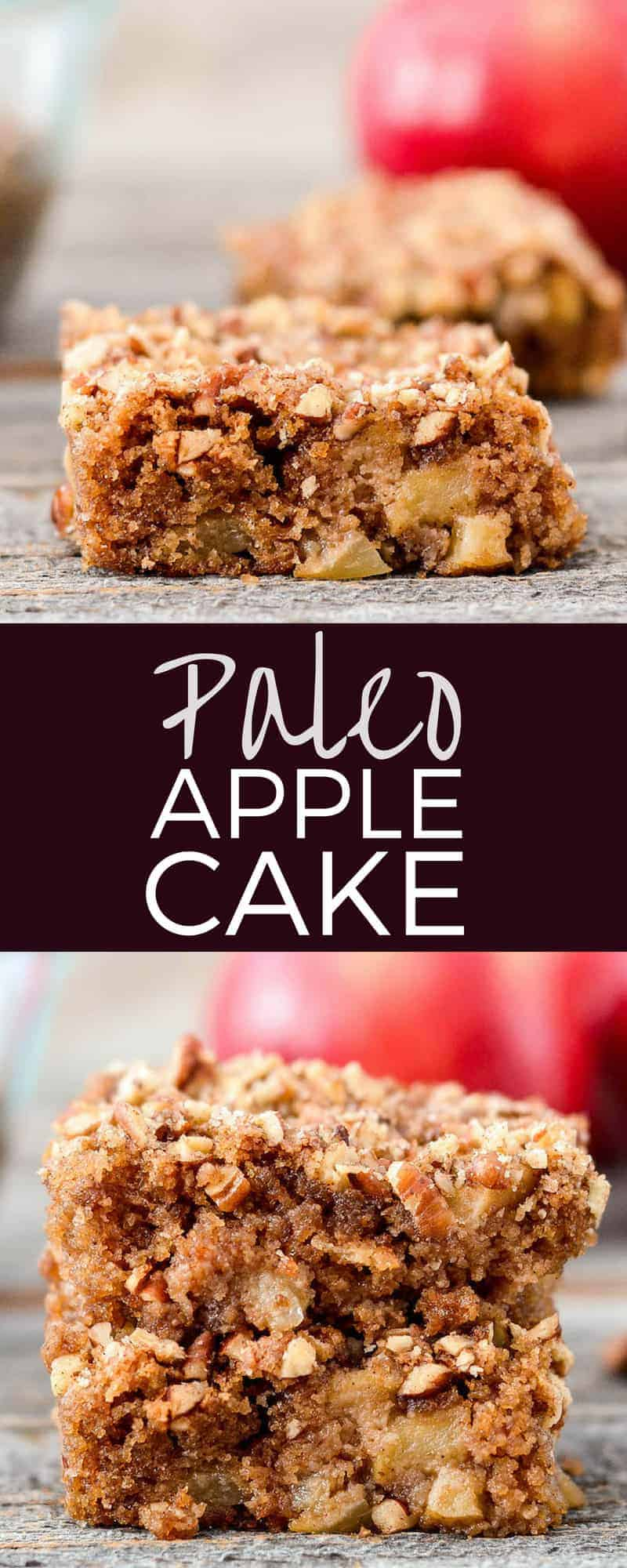 Paleo Apple Cake is THE best apple cake recipe ever! An easy, healthy dessert that's full of all the best fall flavors! Plus it's Paleo, gluten-free, dairy-free, and refined sugar free! #applecake #cake #healthy #recipe #paleo #glutenfree #apples #dairyfree #refinedsugar free #grainfree