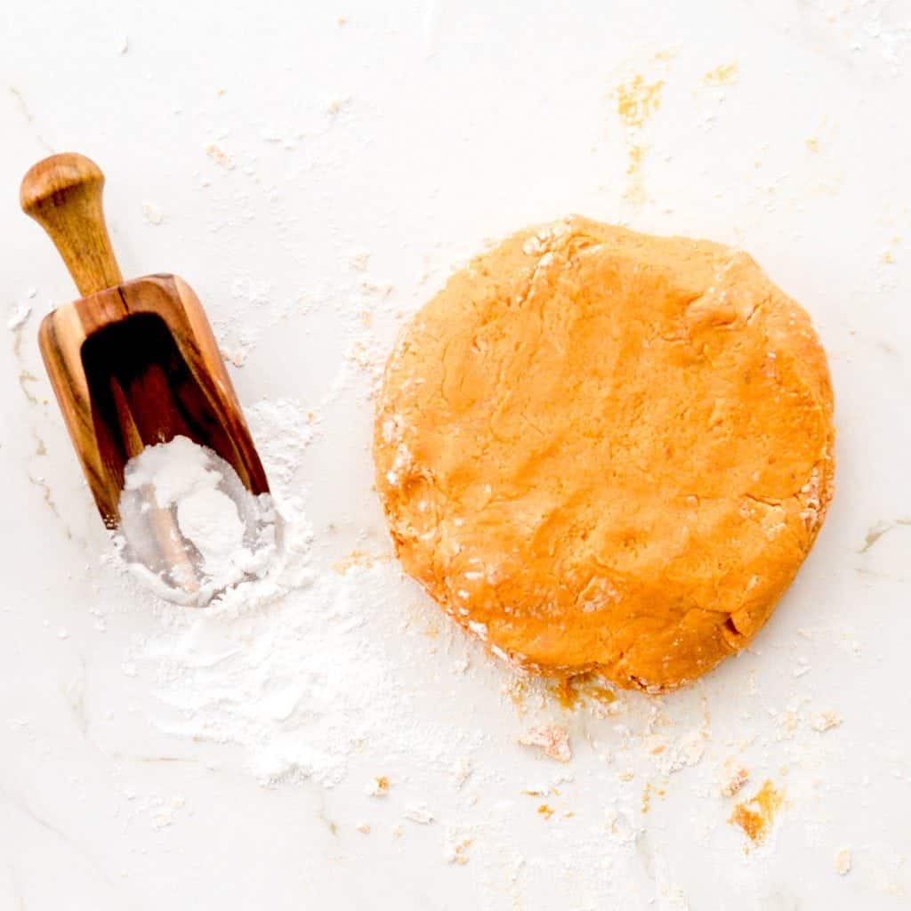 Overview photo of gnocchi dough and flour scoop.