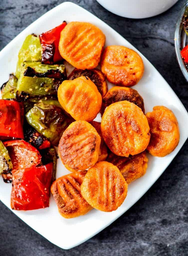 Overhead photo of sweet potato gnocchi with veggies.