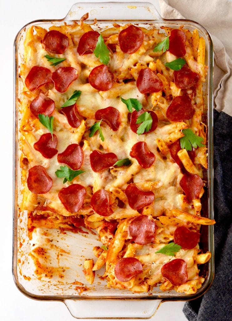 Lightened Up Pizza Casserole! An easy & delicious meal that is kid tested and husband approved!