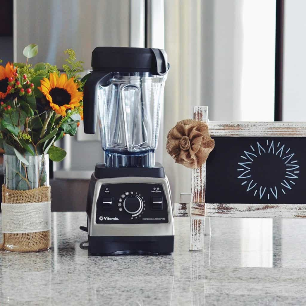 Front view of a stainless steel Vitamix 750 Blender in this post answering the question Which Vitamix is the Best? (Vitamix Comparison & Buying Guide)