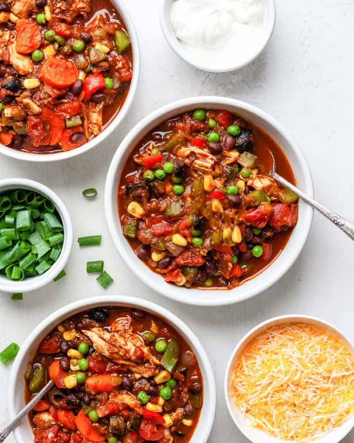overhead photo of three bowls of Crockpot Chicken Chili