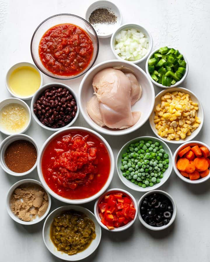 overhead view of the ingredients in this chicken chili recipe