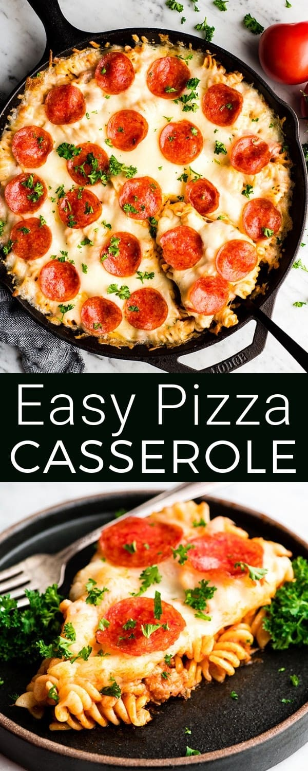 This Easy Pizza Casserole recipe is a family-favorite meal that is kid tested and husband approved! It's a great main dish to feed a crowd, only takes 10 minutes to prepare, and is made with 9 ingredients! #pizzacasserole #pasta #recipe #maindish #pizza #dinner #easypizzacasserole #freezerfriendly